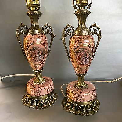 2 Italian Pottery & Brass Mid Century Table Lamps Hollywood Regency Pink Ceramic