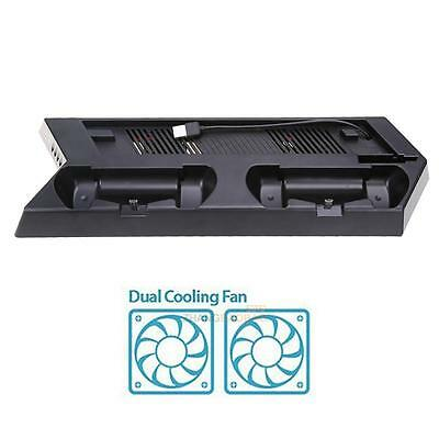 Vertical Stand Cooling Fan with Dual Charging Station for PS4 Slim Console