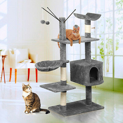 "58"" New Cat Tree Activity Centre Scratcher Scratching Post Play House Gray"