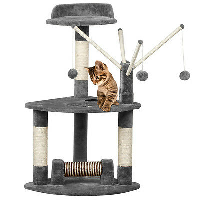 Cat Scratching Post Scratcher Tree Activity Toy Pet Playing Centre Climbing Gray