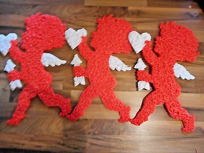 Lot  Melted Plastic Popcorn Valentines Day Decorations Cupids LOT of 3