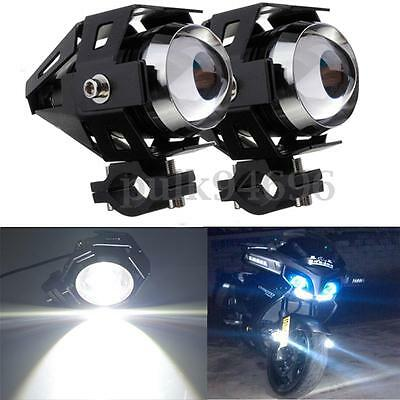 2 pcs Black U5 125W Motorcycle LED Headlight Driving Fog Spot Light Lamp Bulb
