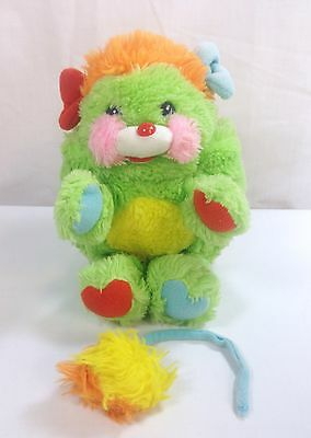 """Vintage Popples Putter Plush Green 8"""" Stuffed Animal 1986 Broken Tail Included"""