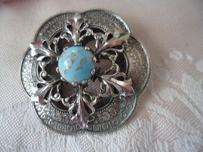 Vintage Jewelry Silver Turquoise Clan Dress Coat Brooch Pin Antique Jewellery