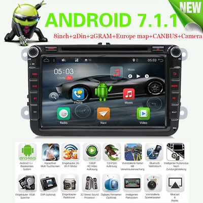 "Android 6.0 Quad Core BT 2 Din 8"" Car DVD Player GPS NAVI Touch DAB+For VW Skoda"