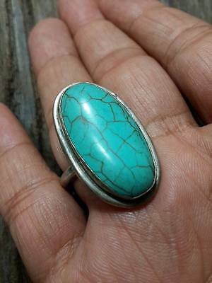 MENS Islamic RING Turquoise STONE Nomadic ANTIQUE Afghan ELLIPSE Silver plate 8