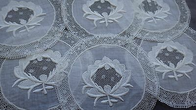Set 6 FRENCH Coasters NORMANDY FOND DE COIFFE Embroidery + Valenciennes Lace