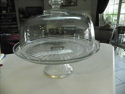 Antique Vintage  Pedestal Cake/Dessert/Pie Stand Plate with Dome Cover - EUC