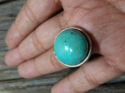 MEN Islamic RING Turquoise STONE Nomadic ANTIQUE Afghan VINTAGE Silver plate SZ8