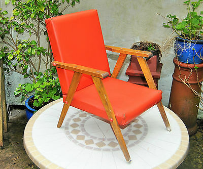 Unusual Original Vintage Retro Child's Chair. Oak & Red Vinyl. Wirral Collect..