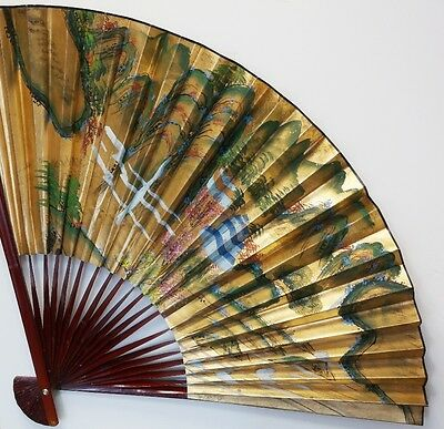 Huge Oriental Vintage Hand Painted Chinese Fan Decorative Wall Hanging Large