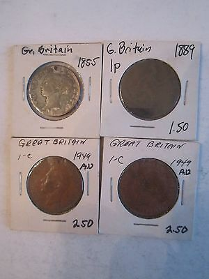 (16) Old Great Britain Cent & 1/2 Cent Coins - 1855 - 1949 In Sleeves - Tub A6
