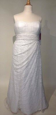 Wedding Dress Curves Lace Ivory Strapless Benjamin Roberts Plus Size 22
