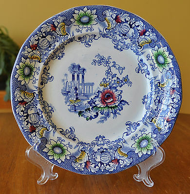 Lovely Antique Ironstone Polychrome Blue Transferware Plate Morley Cleopatra