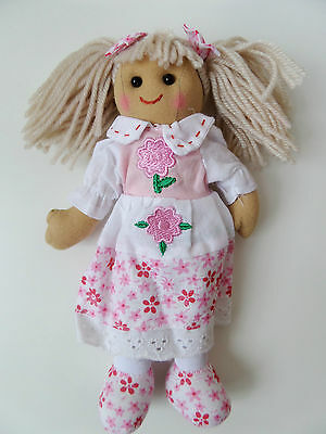 Powell Craft Rag Doll Baby Children's Plush Soft Toy Pink Dress & Bloomers 20cm