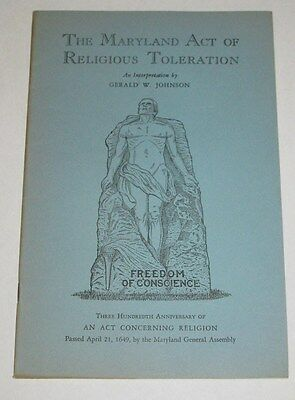 Book Maryland Act of Religious Toleration 1949 Gerald Johnson