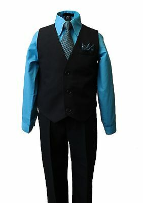Boy's Formal Vest Set with Turquoise blue Dress Shirt and Tie