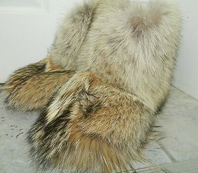 MEN GENUINE WARM COYOTE FUR SOCKS INSIDE WINTER BOOTS Sz.7-12