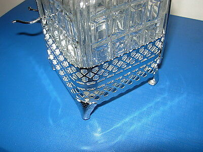 Vintage Cut Glass Lidded Small Decanter In A Chrome Plated Metal Frame