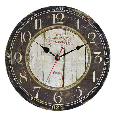 Antique Vintage Wall Clock Wood Round Large Art Home Decor Decoration 34 cm