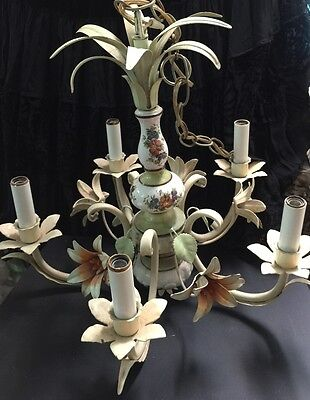 Vintage Shabby Chandelier Tole Toleware 5-Light Flowers Leaves Orange Green Lamp
