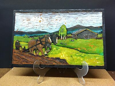 "Vintage Swedish 1800""s Hand Carved Wooden  Farm Scene- Named And Signed"
