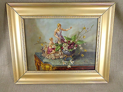 Victorian Oil Painting  19th C Original Still Life Porcelain Table Flowers