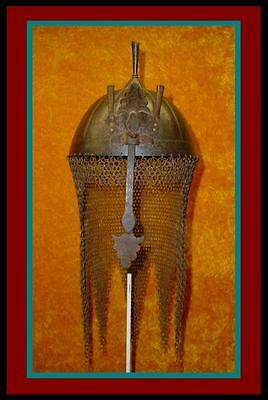 AUTHENTIC Antique INDO PERSIAN HELMET with Nose Guard & CHAIN MAIL Armour /Armor