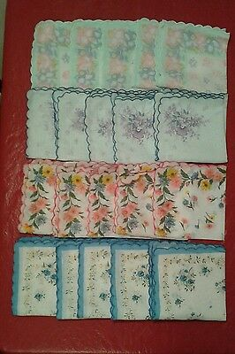20Pcs  Ladies Hankies Floral  Vintage Style Cotton Handkerchief