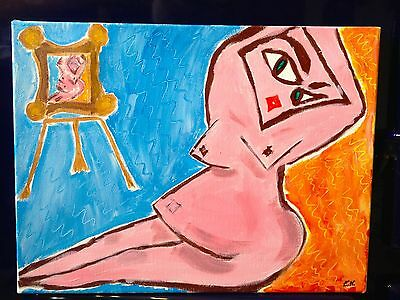 Abstract blue/orange/pink cubist nude original painting signed by artist.