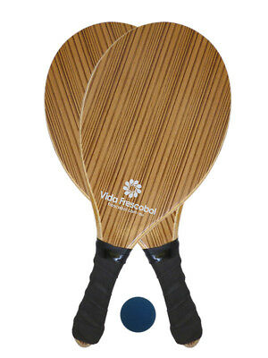 Vida Frescobol Brown Striped Beach Paddleball Racket Set