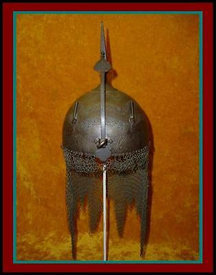 Authentic ANTIQUE Indo Persian ENGRAVED HELMET with Copper Inlay & Chain Mail