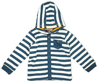 Baby Boys Stripe Hoody Button Hooded Sweater Cotton Top Newborn to 12 Months