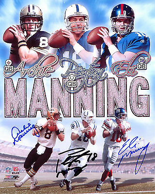 Peyton Manning, Archie Manning  & Eli Manning - NFL - Signed Autograph REPRINT