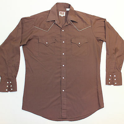 Vintage 90s WESTERN ELY Brown Piping Cowboy Pearl Snap Shirt Medium M