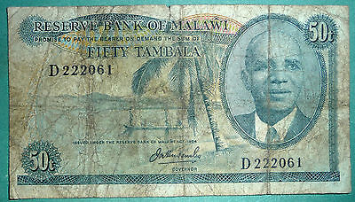 MALAWI 50 TAMBALA  SCARCE  NOTE, P 9 a , issued 1973