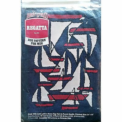 Regatta Punch Needle Rug Hooking Kit 24x36 inch Aunt Lydias Ship Boat Sail c1326