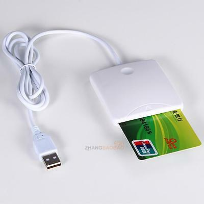 USB Contact Smart Chip Card IC Cards Reader Writer With SIM Slot K2 White
