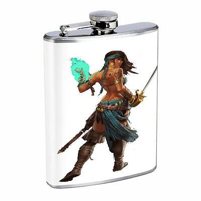 Savage Pirate Pin Up D15 Flask 8oz Stainless Steel Hip Drinking Whiskey Rum
