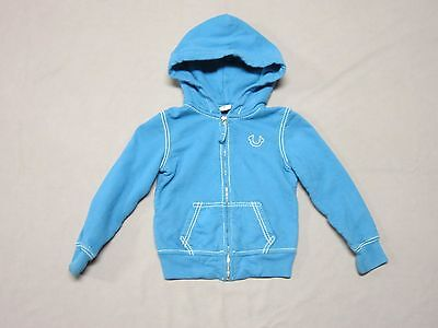 True Religion Brand Boys Sky Blue Big T Hoodie Sweatshirt Size Small Preowned