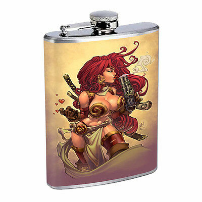 Savage Pirate Pin Up D22 Flask 8oz Stainless Steel Hip Drinking Whiskey Rum