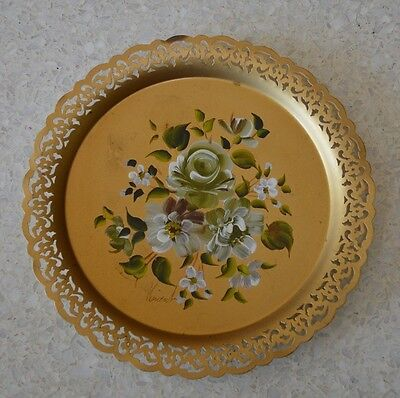 """Vintage Hand Painted Reticulated 12"""" Nashco Metal Tole Serving Tray -Signed"""