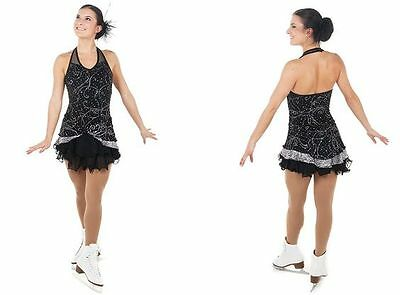 NEW Competition Skating Dress Elite Xpression Black Silver 1457 AS SMALL