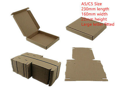 100x BROWN C5 A5 BOX 160x230x22mm ROYALMAIL LARGE LETTER POSTAL CARDBOARD PIP 4U