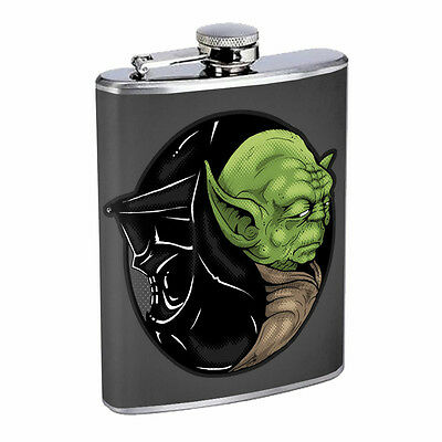 Yin Yang D11 Flask 8oz Stainless Steel Hip Drinking Whiskey Darth Vader Yoda