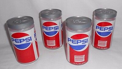 4 Vtg Pepsi Drinking Glass Can Shape w/ Lids Tumblers 1987 Glas-Can COMPLETE SET