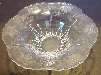 VTG Pressed Glass Large Floral Etched Footed Centerpiece Bowl/Compote 10 3/4""