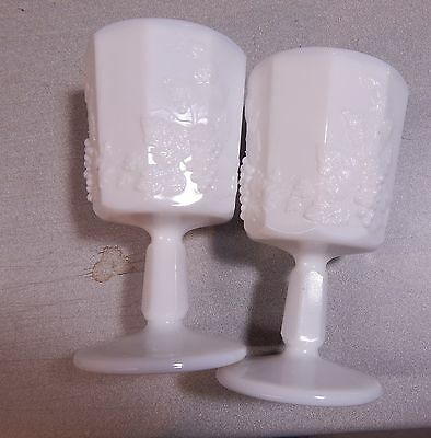 2 Westmoreland Paneled Grape Milk Glass Water Goblets 6""