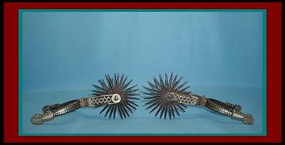 BEAUTIFUL Authentic ANTIQUE Double SILVER INLAID Hand Forged 2 Piece IRON SPURS
