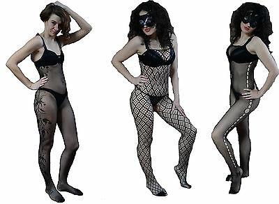Netz Body Stocking Catsuit ouvert schwarz one size